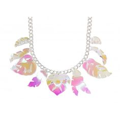 Tatty Devine Contemporary Iridescent Tropical Leaves Necklace - SS17 Collection