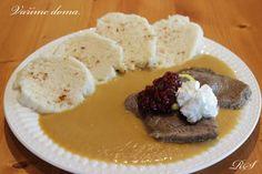 SVÍČKOVÁ OMÁČKA s knedlíkem Mashed Potatoes, French Toast, Food And Drink, Pudding, Dinner, Cooking, Breakfast, Ethnic Recipes, Desserts