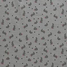 Vævet bomuld grå med kaniner, økotex, 50kr/m
