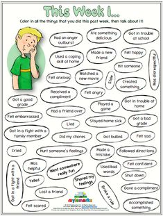 This Week I. (Behavior Reflection Sheet) This Week I. (Behavior Reflection Sheet),Mylemarks Resources Color in all the things that you did this past week, then talk about it! Coping Skills Activities, Counseling Activities, Therapy Activities, Activities For Kids, Kids Therapy, Art Therapy, Physical Activities, Elementary School Counseling, School Social Work