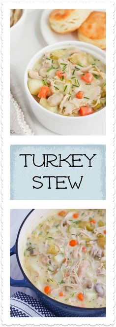 HEARTY TURKEY STEW WITH VEGETABLES SIMMERED IN A CREAMY SAUCE. A DELICIOUS WAY TO USE UP THAT LEFTOVER THANKSGIVING TURKEY.