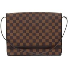 Preowned Louis Vuitton Tribeca Carre Damier Ebene Canvas Shoulder Bag ($499) ❤ liked on Polyvore featuring bags, handbags, shoulder bags, multiple, strap purse, pre owned handbags, louis vuitton purses, louis vuitton shoulder bag and louis vuitton