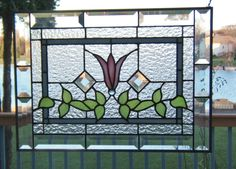 Beveled Victorian Style Stained Glass Panel Window Pink Flower | eBay