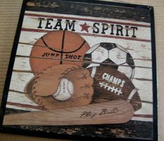 BASEBALL Football  BASKETBALL Soccer Ball Sports Art by carolalden