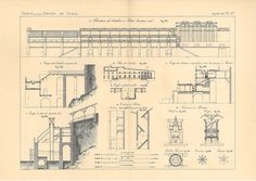 1872 Antique Technical Drawing Concrete Workshop  by carambas, $20.00