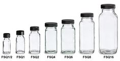 Specialty Bottle - French Square Glass Bottles...SO MANY glass, plastic, & tin bottles and jars available on this site! RS