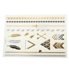 Gold Silver Feather Metallic Temporary Tattoos Body Art Sticker