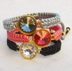 Swarovski bracelet crystal friendship bracelet rivoli macrame bracelet stacking bracelet rhinestone. $23.00, via Etsy.