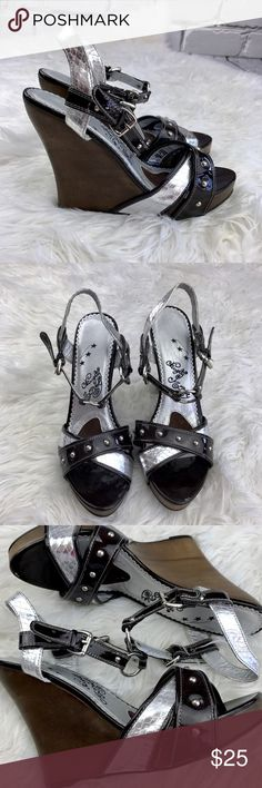 "💕SALE💕Naughty Monkey Black & Silver Wedges Adorable Naughty Monkey Black & Silver 5"" Wedges naughty monkey Shoes Wedges"