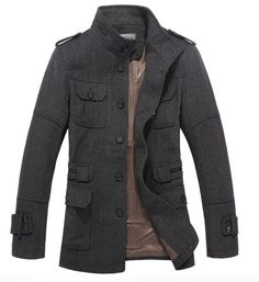 Hot & Fashionable Pure Color Stand Collar Coat----Gray