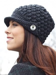 Ice Queen Cap - #freepattern to #crochet this winter hat. Loving the brim and button details. [From @AllFreeCrochet]