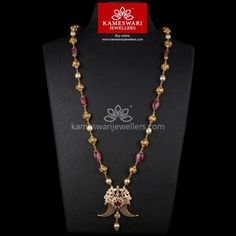Men's Ruby Polki Highlight Tigernail and 28 inch Chain Kids Gold Jewellery, Mens Gold Jewelry, Gold Jewelry Simple, Coral Jewelry, Gold Chain Design, Gold Earrings Designs, Necklace Online, Jewelry Patterns, Indian Jewelry