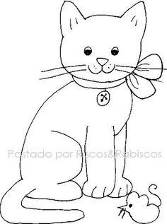 Appliqué cat - a possibility Cat Quilt Patterns, Applique Patterns, Applique Quilts, Applique Designs, Embroidery Applique, Embroidery Stitches, Machine Embroidery, Cat Template, Templates