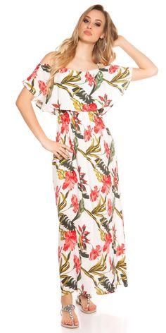 Dámské letní dlouhé šaty na ramínka s barevným květovaným potiskem, doplněno volánem.  Barva: slonová kost  Materiál: 100% viskóza Fashion Models, Wrap Dress, Dresses, Vestidos, Wrap Around Dress, The Dress, Models, Dress, Gowns