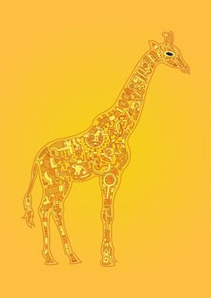 Giraffe by barneyibbotson.com: Doodled mechanical animals! #barneyibbotson #Giraffe
