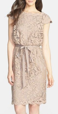 Tadashi Shoji Lace Blouson Dress (Regular Petite) available at avlbl at valley fair, stone ridge, SF, Stonestown Lovely Dresses, Trendy Dresses, Simple Dresses, Casual Dresses, Summer Dresses, Dress Outfits, Fashion Dresses, Dress Brokat, Vestido Casual