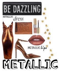 """""""Metallic Moment"""" by dimeond711 ❤ liked on Polyvore featuring Boohoo, Dune, McQ by Alexander McQueen, Yves Saint Laurent, Lime Crime and Livingly"""