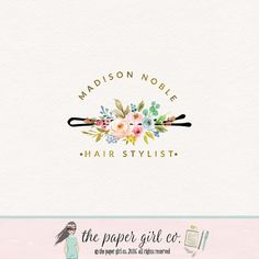 hair clip logo hair stylist logo hair salon logo by ThePaperGirlCo/ I also really love an idea like this with the color scheme I pinned