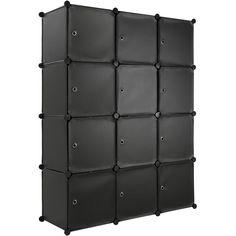Multifunctioneel opbergmeubel kledingkast, 148cm, 12 vakken, 600 liter, zwart