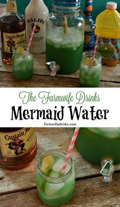 Mermaid water is the perfect rum punch.Lime Canned Goods 1 part 12 ounces frozen limeade concentrate, frozen Drinks 6 parts 1 liter of ginger ale 6 parts 72 ounces pineapple juice Beer, Wine & Liquor 1 part 1 1/2 cup malibu rum 2 parts 3 cups captain morgan spiced rum 3 4 cup blue curacao - 1/2 part, Blue