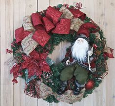 XL 32 Santa Christmas Wreath with Deep Red by SignsStuffnThings