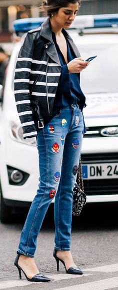 Patched Denim And Striped Jacket Outfit Idea #Fashionistas