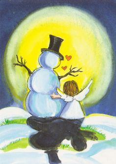 40 Original Winter Paintings on Canvas – Bored Art – Beste Winterbilder Christmas Snowman, Winter Christmas, Vintage Christmas, Christmas Holidays, Christmas Decorations, Christmas Ornaments, Sweet Pictures, Winter Painting, Frosty The Snowmen