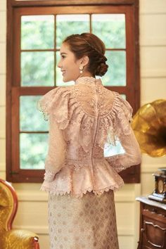 Items similar to Pikulraht Thai shirt stly( only shirt) on Etsy Kebaya Lace, Kebaya Hijab, Kebaya Modern Hijab, Traditional Fashion, Traditional Dresses, Model Dress Kebaya, Kebaya Wedding, Hijab Dress Party, Dress Brokat