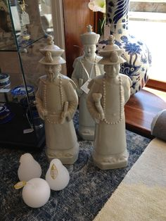 """Impressive Set of 3 Chinese Emperors in Blanc de Chine. 18"""" tall. $194/set. Pear Candles $5.75 each. SOLD"""