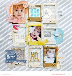 BLUE EYES scrapbook layout by Paige Evans (made with the help of the Silhouette CAMEO)