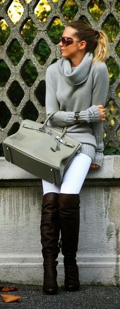 Grey Sweater With Handbag and Brown Leather Long Boots