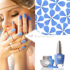 197 Bohemian Beauty Bohemia was never far from the mood board this summer, this cornflower blue is a true beauty. Bio Sculpture Gel Nails Summer, Bio Sculpture Nails, Shellac Colors, Cnd Shellac, Wow Nails, Pretty Nails, Bio Gel Nails, Spring Nail Colors, Happy Hippie