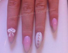 pastel pink + white stiletto nails