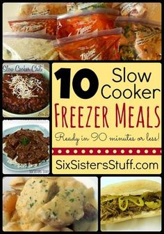 10 Slow Cooker Freezer Meals in Less than 90 Minutes | Six Sisters' Stuff~T~ Black Bean and Corn Salsa Chicken, BBQ Cranberry Chicken, Beef and Mushrooms, Pineapple Glazed Ham, Sweet and Tangy Meatballs, Chili, Sweet Teriyaki Chicken, Italian Beef Sandwiches, Creamy Salsa Chicken and Creamy Ranch Pork Chops and Potatoes. ( some of these use things like canned soups and some don't)