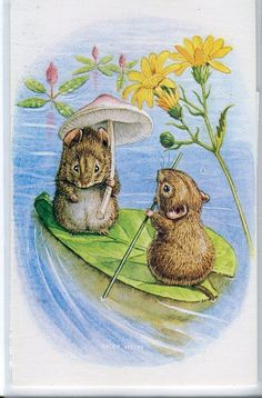 Summer on the Lake Mice boating on leaf by sharonfostervintage, $5.00