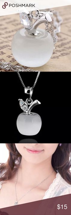 """Sterling Silver Opal Apple Rhinestone Necklace High Quality ~ Has a 'Cat Eye' look to it. Pendant is Small Size. Setting is Sterling Silver. Chain is an 18"""" Sterling Silver Twist Chain or Snake Chain (Length is Short). Comes w/Gift Box. Have a Pink Color also. See separate listing. Jewelry Necklaces"""