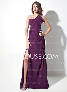 Evening Dresses - $132.29 - Sheath One-Shoulder Sweep Train Chiffon Evening Dress With Ruffle Beading (017016057) http://jjshouse.com/Sheath-One-Shoulder-Sweep-Train-Chiffon-Evening-Dress-With-Ruffle-Beading-017016057-g16057