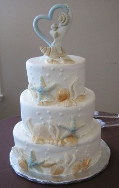 Floral Wedding Cakes, Cool Wedding Cakes, Wedding Cake Designs, Wedding Cupcakes, Wedding Cake Toppers, Beach Wedding Cakes, Beach Themed Cakes, Beach Cakes, Ocean Cakes