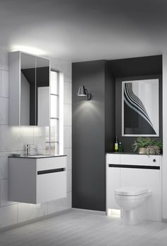 Contemporary fitted bathroom furniture range from Utopia Bathrooms in Flat White with a matt black metallic handle strip. Fitted Bathroom Furniture, Scandi Style, White Flats, Contemporary, Modern, Bathrooms, Metallic, Handle, Interiors