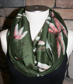 Dragonfly Print Infinity Scarf-Olive Green Scarf-Chunky Infinity Scarf -Multi colored Dragonfly Scarf-Womens Accessories-Fashion Scarf