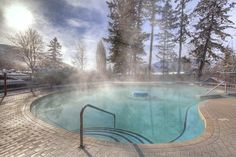 Guest-exclusive hot pool #FairmontHotSpringsResort #hotsprings #hotpools #guestpool #destinationbc #tourismbc #BritishColumbia #naturalhotsprings