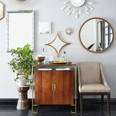 West Elm offers modern furniture and home decor featuring inspiring designs and colors. Create a stylish space with home accessories from West Elm. Round Wood Mirror, Wall Mirrors Metal, Mirror Wall Art, Mirror Mirror, Mirror Walls, Chevron Tile, Modern Buffet, Wall Art Wallpaper, Colonial Style Homes