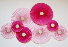 Paper rosettes -Paper Pinwheels -Paper Fans -Pink and Gold Party - Pink and Gold - Hot Pink and Gold - Pink Gold Birthday - Pink Baby Shower by PoshSoiree on Etsy https://www.etsy.com/listing/265117304/paper-rosettes-paper-pinwheels-paper