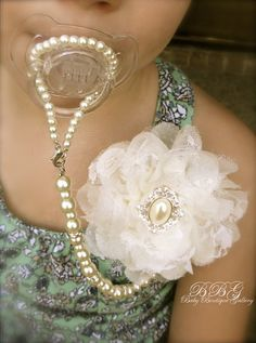 Oh snap! Don't think I won't make this!     4-in-1 Beaded Pacifier Holder -Shabby Chic Ivory Flower with Oval Pearl Center