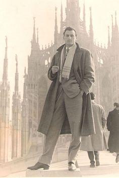 Vintage men's fashion. Overcoat, scarf, good shoes.