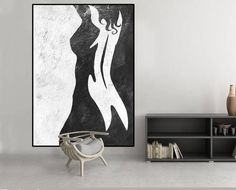 Abstract nude woman painting, original abstract painting, acrylic painting black and white wall decor, great abstract art - kunst Abstract Painting Easy, Black Art Painting, Modern Art Paintings, Black And White Painting, Woman Painting, Acrylic Painting Canvas, Abstract Canvas, White Art, Canvas Art