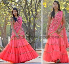 Crushed Half Sari from Teja   Saree Blouse Patterns