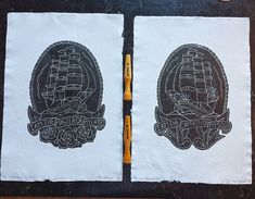 The Master and The Captain lino prints. Inspired by traditional tattoo art and printed on handmade recycled cotton rag paper. Traditional Tattoo Art, Lino Cuts, Lino Prints, Handmade Art, A3, Recycling, Printed, Vacation, Inspired