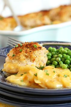 A one-pot dinner that's ready in under 30 minutes, crispy, buttery topped chicken thighs are baked on a bed of cheesy scalloped potatoes.  My family fought over the leftovers. | The Suburban Soapbox #BTFE #ad