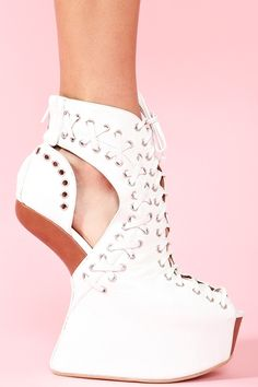 Lace Up Platform in White